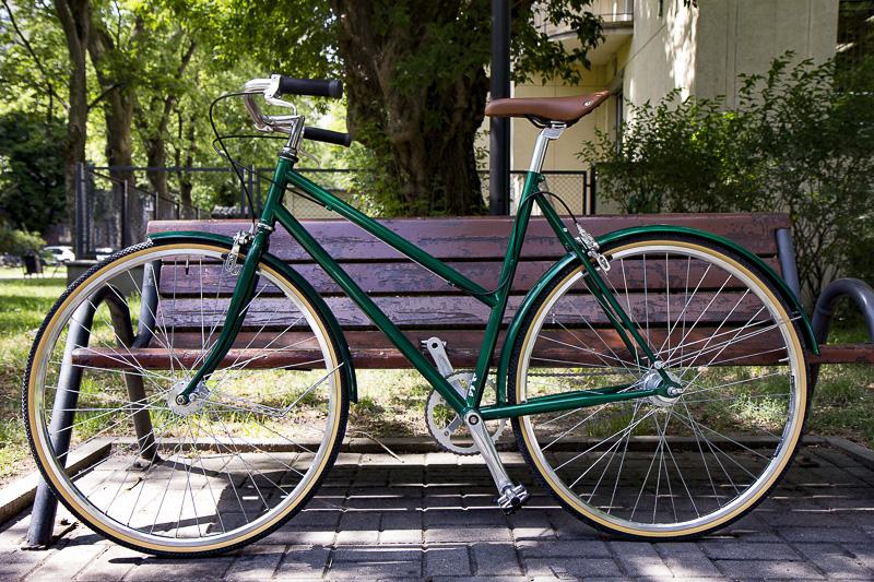 Damka, zielona, rower