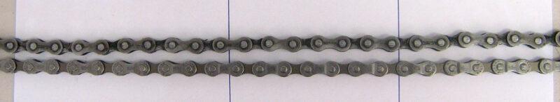 Wyciągnięty łańcuch rowerowy - widać różnicę