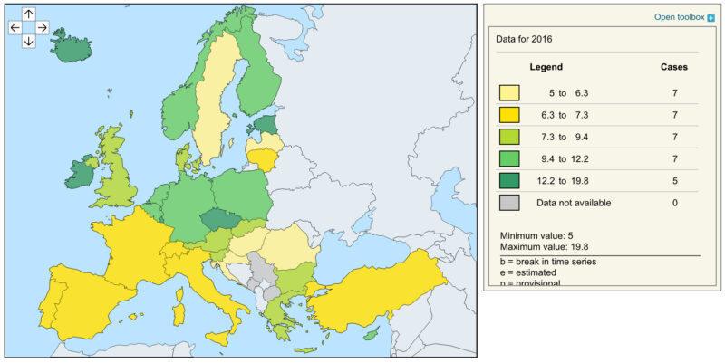 Emisja gazów cieplarnianych wEuropie - mapa