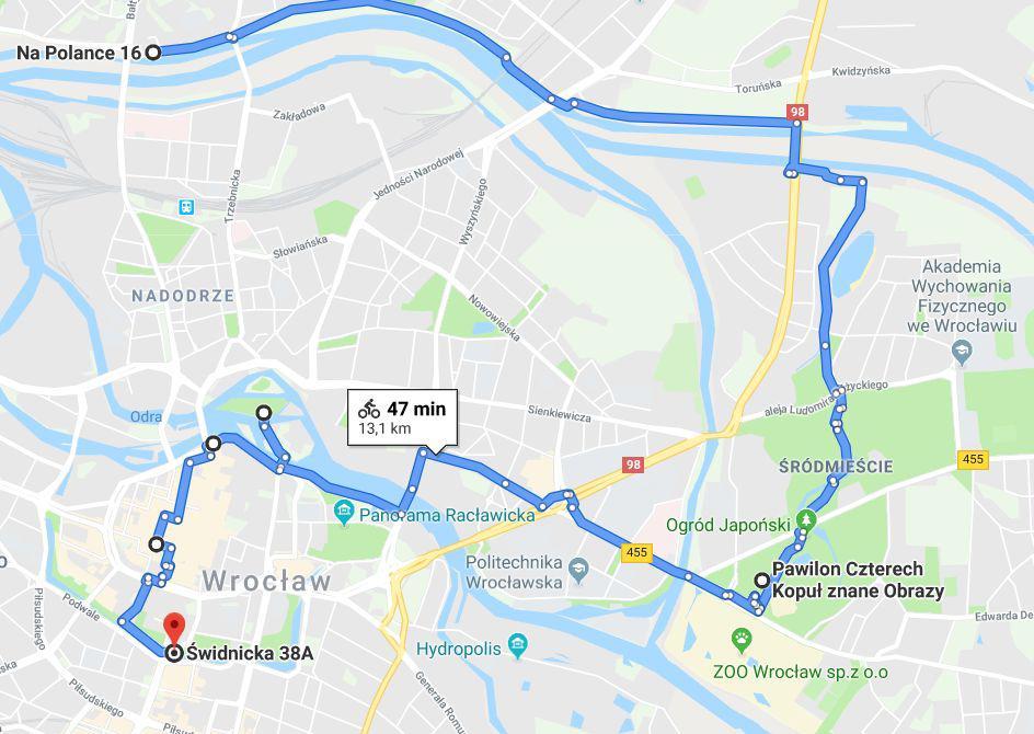 mapa trasy rowerowej wewrocławiu