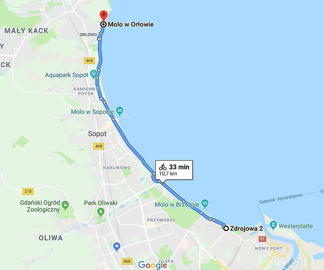 mapka trasy nadmorskiej