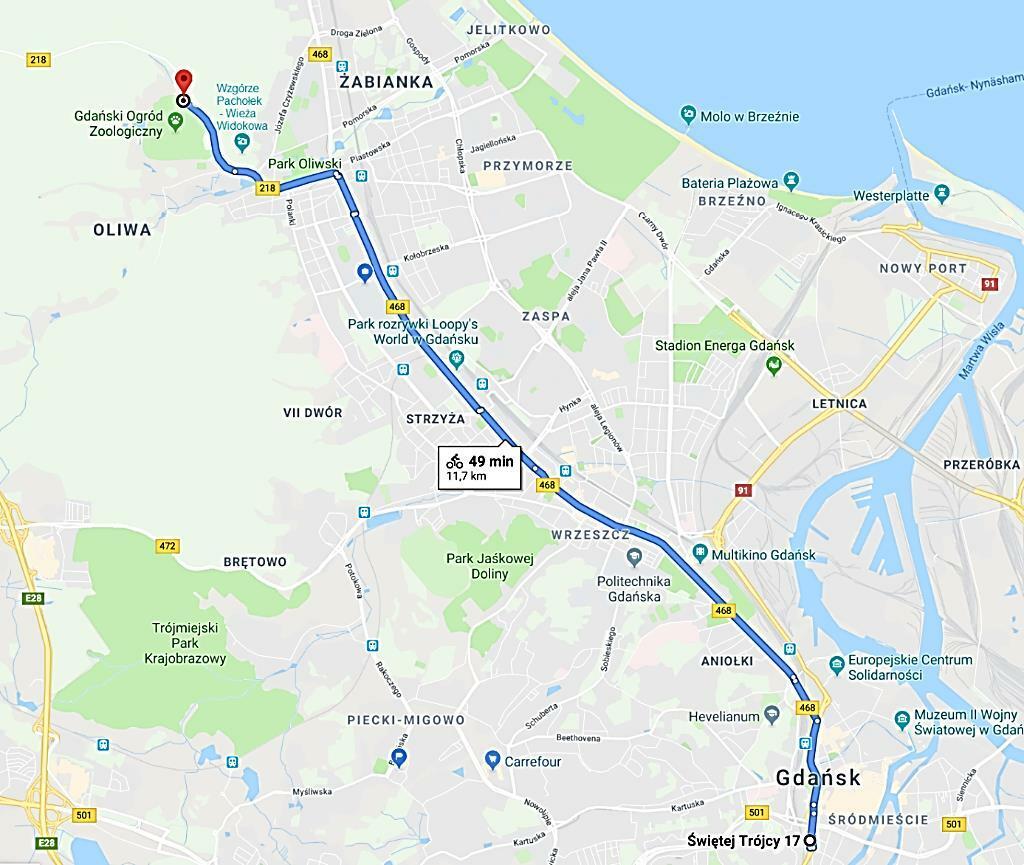 mapka trasy rowerowej