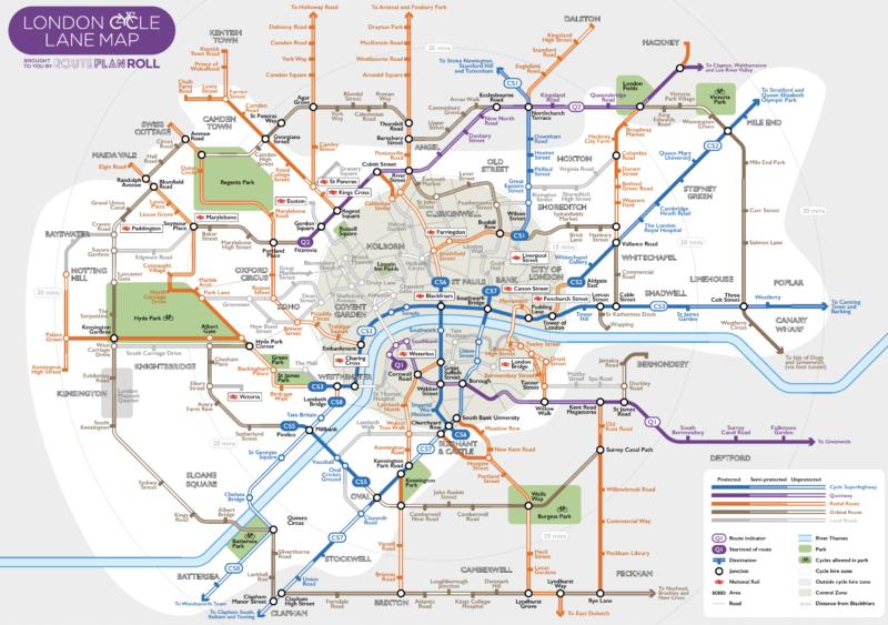 Mapa dróg rowerowych Londyn
